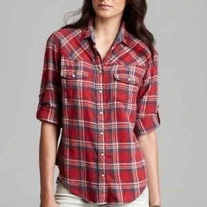 Jach's Girlfriend Red and Blue Western Flannel